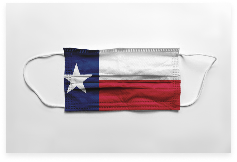 ppe mask with texas flag