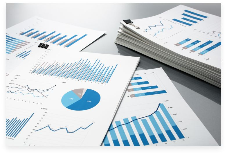 reports with charts and graphs